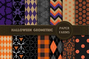 Halloween geometric digital paper