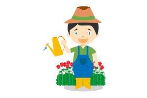 Gardener vector illustration
