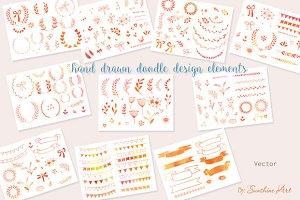 Watercolor doodle design elements