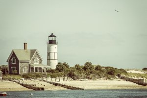 Lighthouse and home at Cape Cod