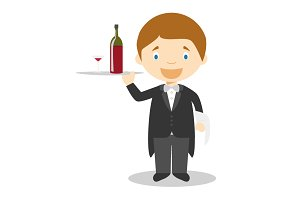 Waiter vector illustration