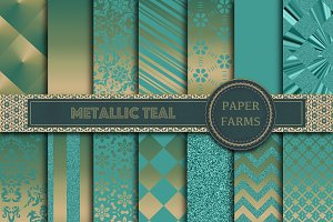 Metallic Teal digital paper
