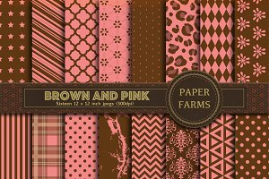 Brown and pink digital paper