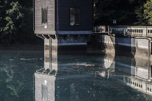Cottage and Reflection in Lake