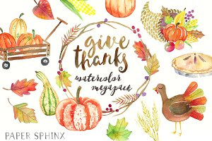 Thanksgiving Watercolor Graphic Pack