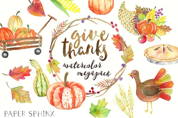 Thanksgiving Watercolor Graphic Pac…