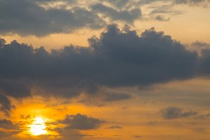 evening sky and sun