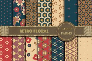 Retro floral digital paper