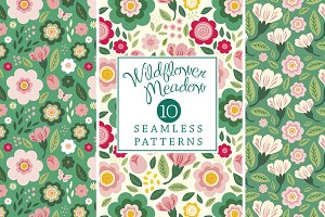 Wildflowers Seamless Patterns