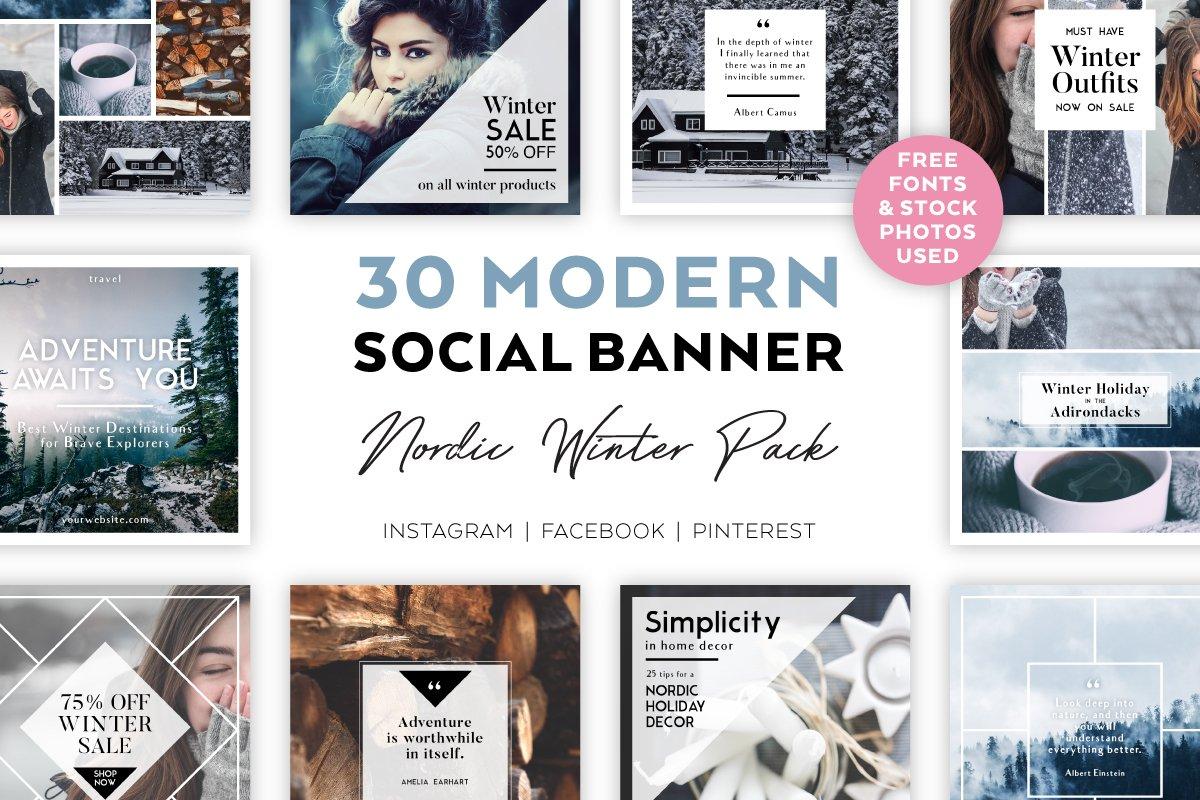 Nordic Winter SOCIAL BANNER Pack