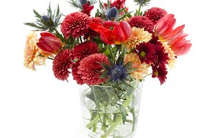 Autumnal flowers bunch in a vase