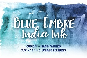 Blue Ombré India Ink Backgrounds