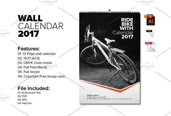 Wall Calendar Template 2017 V6 Stationery Templates Creative Market