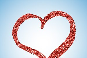 Red glitter heart with shadow