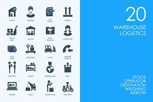 Warehouse logistics icons