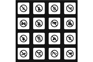 No insects sign icons set