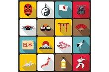 Japan icons set, flat style