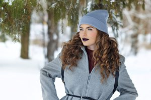 Hipster Girl winter. Youth fashion.