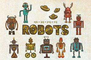 Hipster Robots Sketch Set