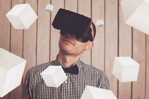 virtual reality helmet.