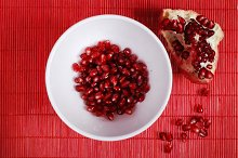 red seeds of sweet pomegranate