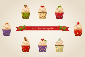 Vector set of Christmas Cupcakes