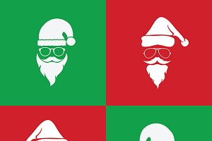 santa hats and beards and eyeglasses