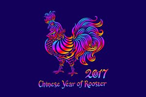 rainbow chinese year of rooster 2017