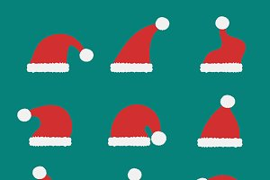 Vector group of santa hat.