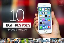 10 iPhone5s PSD Templates (high-res)