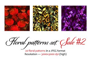 Floral seamless patterns set. Sale 2