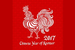 vector white rooster on red chinese