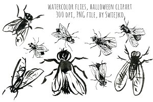 Watercolor Flies, halloween