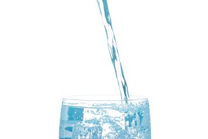 Water pouring from bottle into the glass, isolated on white