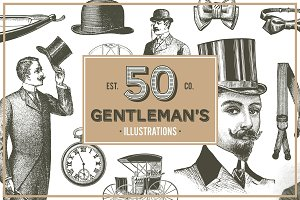 50 Vintage Gentleman's Illustrations