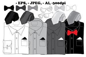 Classic men's style clothes.Doodle