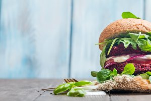 Vegetarian burger made of beetroo