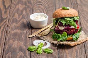 Vegetarian burger made of beetroo