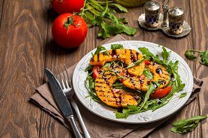grilled pumpkin and arugula salad