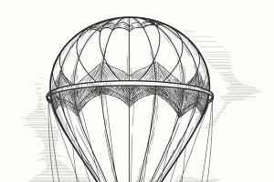 Retro hot air balloon sketch
