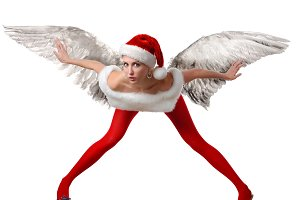 santa's helper in red tights
