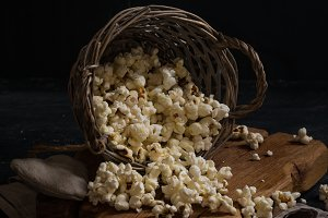 Salt popcorn in a basket