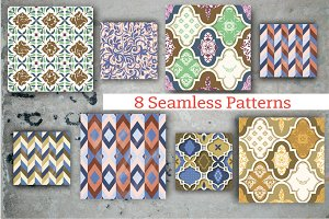 Set of 8 patterns: tile modern