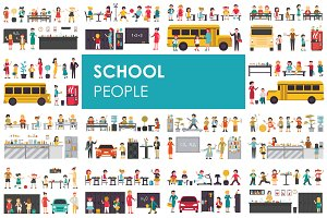 School - flat people set