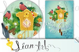 Xmas card with wooden Cuckoo Clock