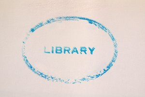Library stamp on book