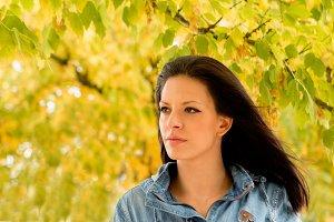 Brunette girl in a park