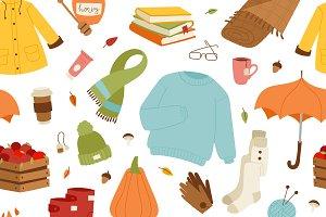 Vector autumn items seamless pattern
