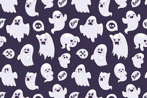 Cartoon spooky semless pattern