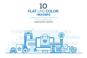 Set of Flat Line Color Headers